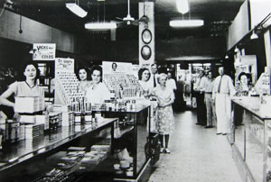 Bond Pharmacy interior around 1924