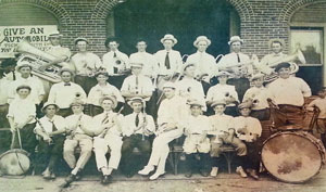 Early Itasca Band in front of old fire station